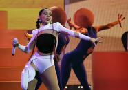Doja Cat performs at the Billboard Music Awards, Friday, May 21, 2021, at the Microsoft Theater in Los Angeles. The awards show airs on May 23 with both live and prerecorded segments. (AP Photo/Chris Pizzello)