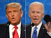 US President Donald Trump and Democratic presidential candidate Joe Biden during the final presidential debate in Nashville, Tennessee