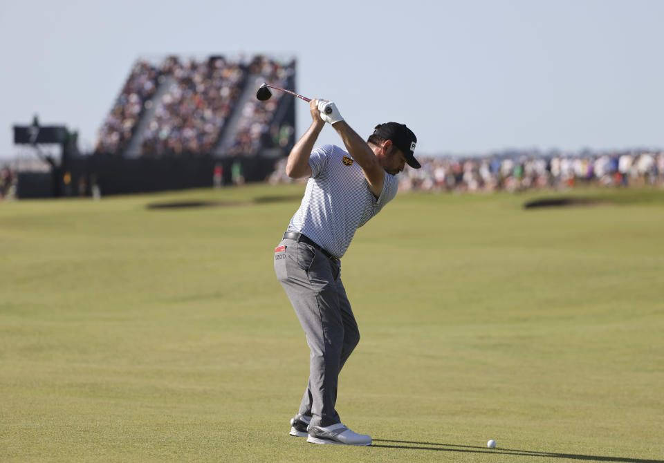 South Africa's Louis Oosthuizen plays a shot to the 7th green during the third round of the British Open Golf Championship at Royal St George's golf course Sandwich, England, Saturday, July 17, 2021. (AP Photo/Ian Walton)