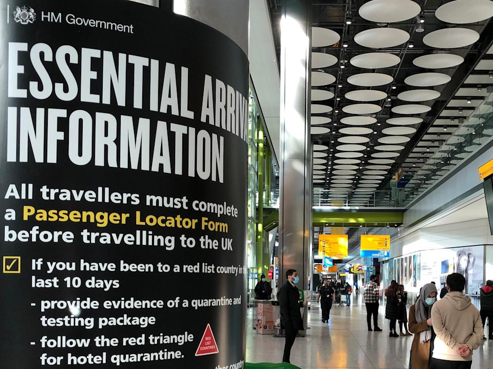 Red alert: sign for arriving travellers at Heathrow airport Terminal 5 (Simon Calder)