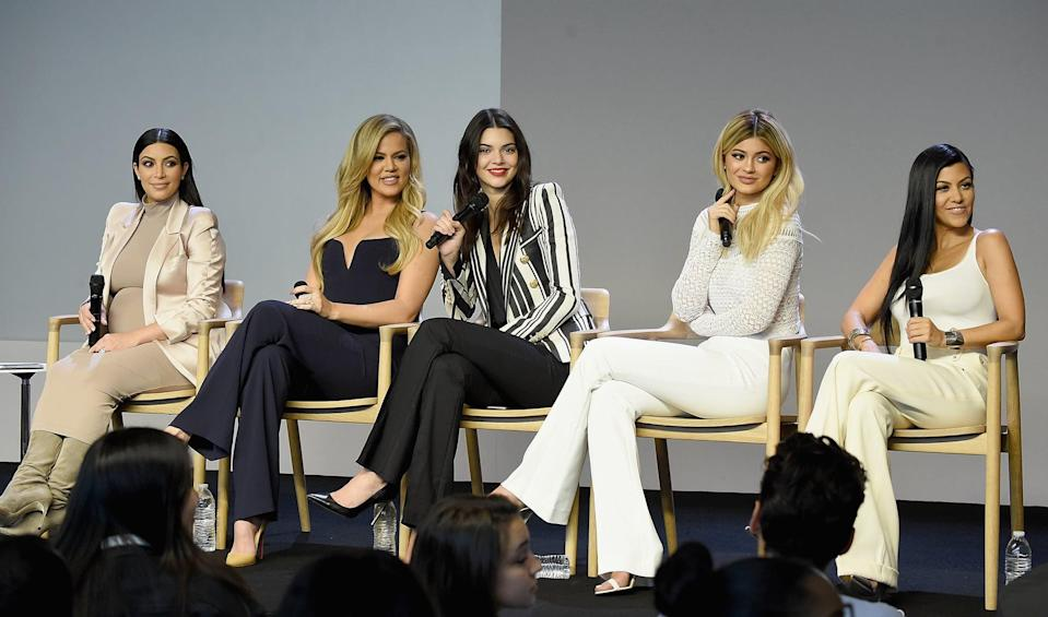 NEW YORK, NY - SEPTEMBER 14:  (EXCLUSIVE COVERAGE) Kim Kardashian, Khloé Kardashian , Kendall Jenner, Kylie Jenner and Kourtney Kardashian attend Apple Store Soho Presents Meet The Developers at Apple Store Soho on September 14, 2015 in New York City.  (Photo by Jamie McCarthy/WireImage)