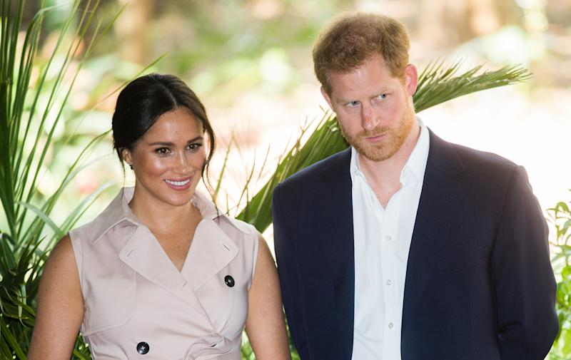JJOHANNESBURG, SOUTH AFRICA - OCTOBER 02: Prince Harry, Duke of Sussex and Meghan, Duchess of Sussex visit the British High Commissioner's residence to attend an afternoon reception to celebrate the UK and South Africa's important business and investment relationship, looking ahead to the Africa Investment Summit the UK will host in 2020. This is part of the Duke and Duchess of Sussex's royal tour to South Africa. on October 02, 2019 in Johannesburg, South Africa. (Photo by Samir Hussein/WireImage)