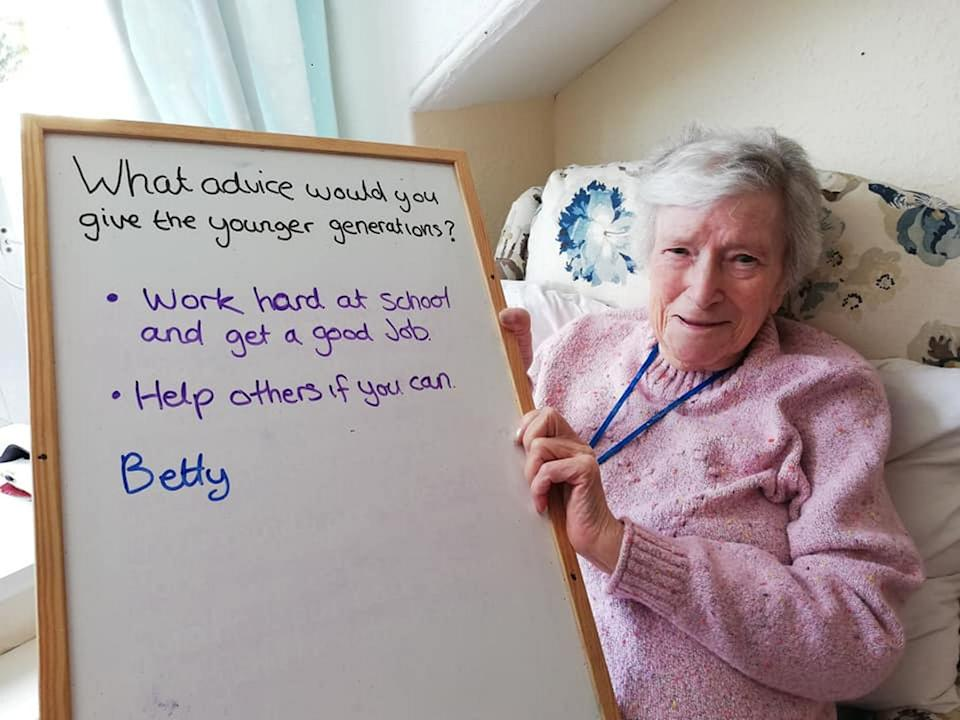 Care home resident Betty shares her advice to the next generation. (SWNS)