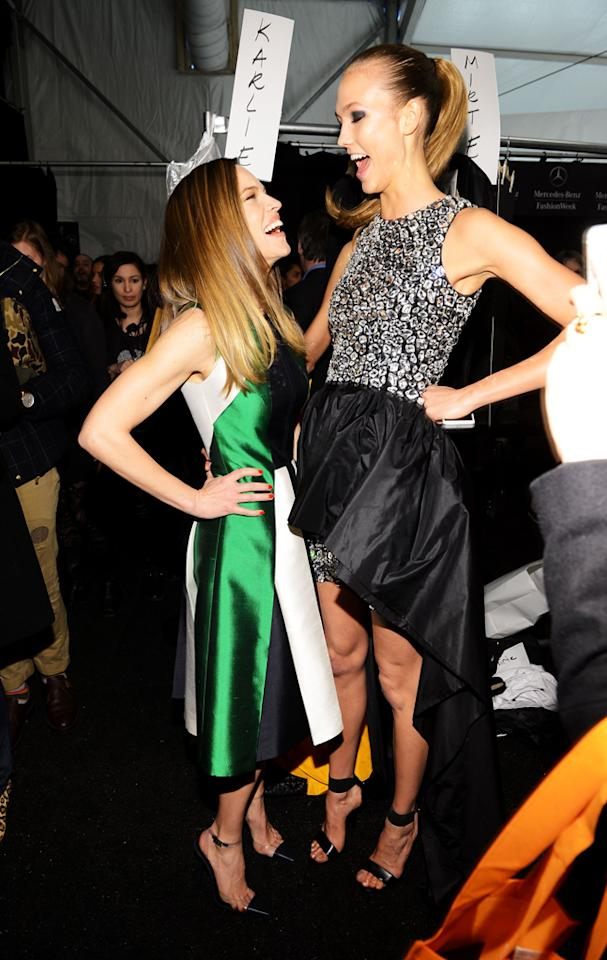 NEW YORK, NY - FEBRUARY 13:  Actress Hilary Swank and model Karlie Kloss pose backstage at the Michael Kors Fall 2013 fashion show during Mercedes-Benz Fashion Week at The Theatre at Lincoln Center on February 13, 2013 in New York City.  (Photo by Larry Busacca/Getty Images for Michael Kors)