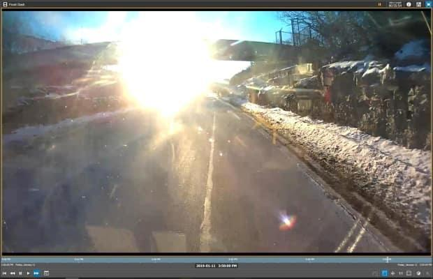 Aissatou Diallo's defence lawyers submitted this screen shot taken from the windshield camera video of the OC Transpo double-decker in Ottawa, seconds before the collision.  (Exhibit/Ontario Court of Justice - image credit)