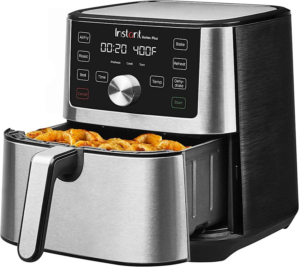 <p>If they haven't jumped on the air-fryer train, now is your chance to gift them the <span>Instant Vortex 4-in-1 Air Fryer</span> ($100, originally $120). It has a digital touchscreen and customizable smart cooking programs, and it's super easy to maintain and clean. It can air fry, broil, roast, dehydrate, bake, and reheat. It's a kitchen tool that they'll use so often, their microwave might shed a tear.</p>