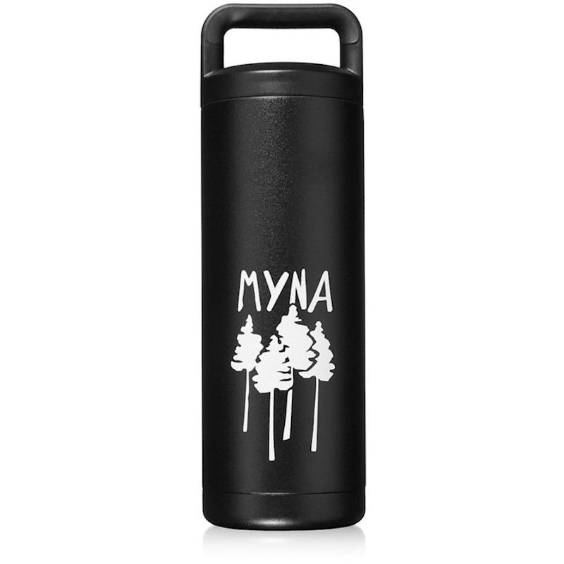 "Myna's Forum bottle is made with double insulated 18/8 stainless steel, and keeps drinks cold for up to 24 hours and hot for up to 12 hours.<br /><br /><strong>Amazon Reviews:</strong> 332<br /><strong>Average Rating:</strong> 5 out of 5 stars<br /><br /><i>""This bottle is awesome. I got it a few days ago and it has been great. I put ice and water in it before going to bed and when I got up in the morning the ice hadn't melted at all. It's a solid water bottle. I like the loop on the top, it lets me clip it to my backpack, so I can take the bottle on all my outdoor adventures."" - Amazon Reviewer</i>"