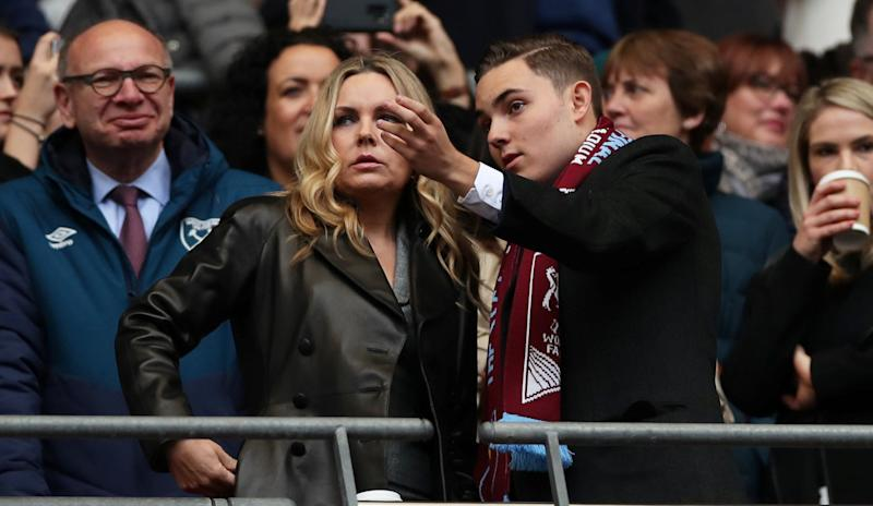 West Ham United Women managing director Jack Sullivan with his mother, Eve Vorley before last season's Women's FA Cup final at Wembley