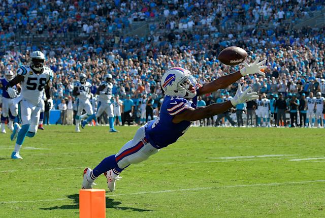 <p>Zay Jones #11 of the Buffalo Bills can't make the diving catch on fourth down in the final seconds of a loss to the Carolina Panthers during their game at Bank of America Stadium on September 17, 2017 in Charlotte, North Carolina. The Panthers won 9-3. (Photo by Grant Halverson/Getty Images) </p>