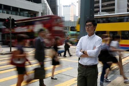 FILE PHOTO: Hong Kong National Party convenor Andy Chan, disqualified by Hong Kong government to run in the Legislative Council election, poses in Hong Kong