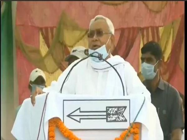 Bihar Chief Minister Nitish Kumar at the public rally on Tuesday.