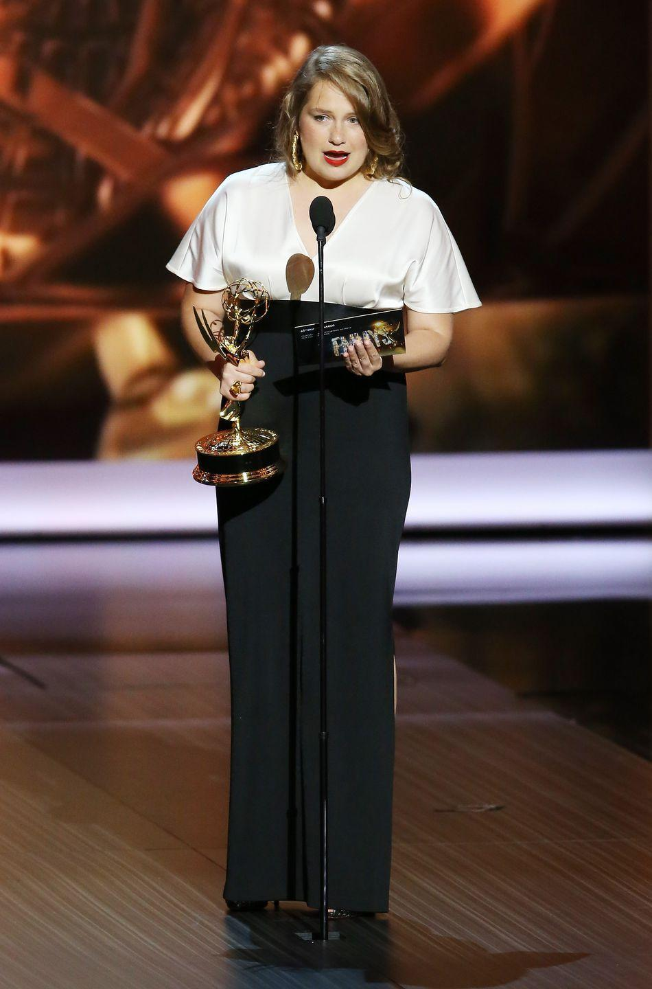 """<p>One of the most annoying things about awards shows is that sometimes the acceptance speeches are insufferably long. But Merritt Weaver went in the opposite direction: when she won for <em>Nurse Jackie,</em> she simply said, """"Thank you so much! Um… I gotta go. Bye."""" </p>"""