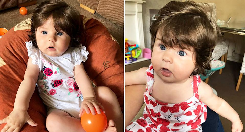Katie Canham, 32, mum of four, from Bromley, South London, said her daughter Dolly was born with a full head of hair. [Photo: Caters]