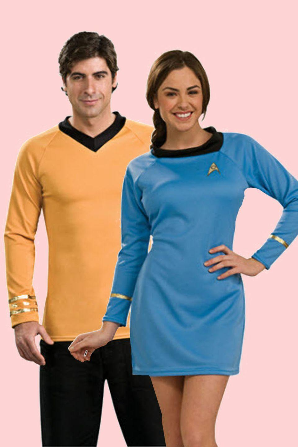 """<p>Beam us up, Scotty. Join the Starfleet with a pair of iconic sci-fi costumes worthy of a spot on the Enterprise.</p><p><a class=""""link rapid-noclick-resp"""" href=""""https://go.redirectingat.com?id=74968X1596630&url=https%3A%2F%2Fwww.halloweenexpress.com%2Fadult-classic-star-trek-costume%2F&sref=https%3A%2F%2Fwww.goodhousekeeping.com%2Fholidays%2Fhalloween-ideas%2Fg2625%2Fhalloween-costumes-for-couples%2F"""" rel=""""nofollow noopener"""" target=""""_blank"""" data-ylk=""""slk:SHOP YELLOW 'STAR TREK' COSTUME"""">SHOP YELLOW 'STAR TREK' COSTUME</a></p><p> <a class=""""link rapid-noclick-resp"""" href=""""https://go.redirectingat.com?id=74968X1596630&url=https%3A%2F%2Fwww.halloweenexpress.com%2Fwomens-blue-star-trek-costume%2F&sref=https%3A%2F%2Fwww.goodhousekeeping.com%2Fholidays%2Fhalloween-ideas%2Fg2625%2Fhalloween-costumes-for-couples%2F"""" rel=""""nofollow noopener"""" target=""""_blank"""" data-ylk=""""slk:SHOP BLUE 'STAR TREK' COSTUME"""">SHOP BLUE 'STAR TREK' COSTUME</a> </p>"""