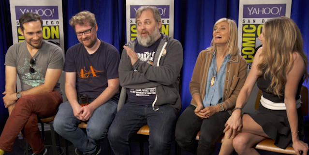 'Rick and Morty' (l-r) writer Dan Ridley, star Justin Roiland, executive producer Dan Harmon, star Spencer Grammer, and star Sarah Chalke (Photo: Yahoo)