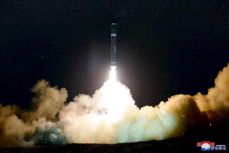 Missile: the Hwasong-15 missile which is capable of reaching all parts of the US (AFP/Getty Images)