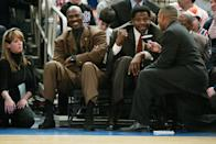 <p>Jordan was still menacing defences at 40 while playing his final season in the NBA for the Washington Wizards, where he averaged 20 points a game and made the All-Star team. (In this picture he's sitting court side with Patrick Ewing during a Knicks-Magic game, when Ewing's jersey was retired.)</p>