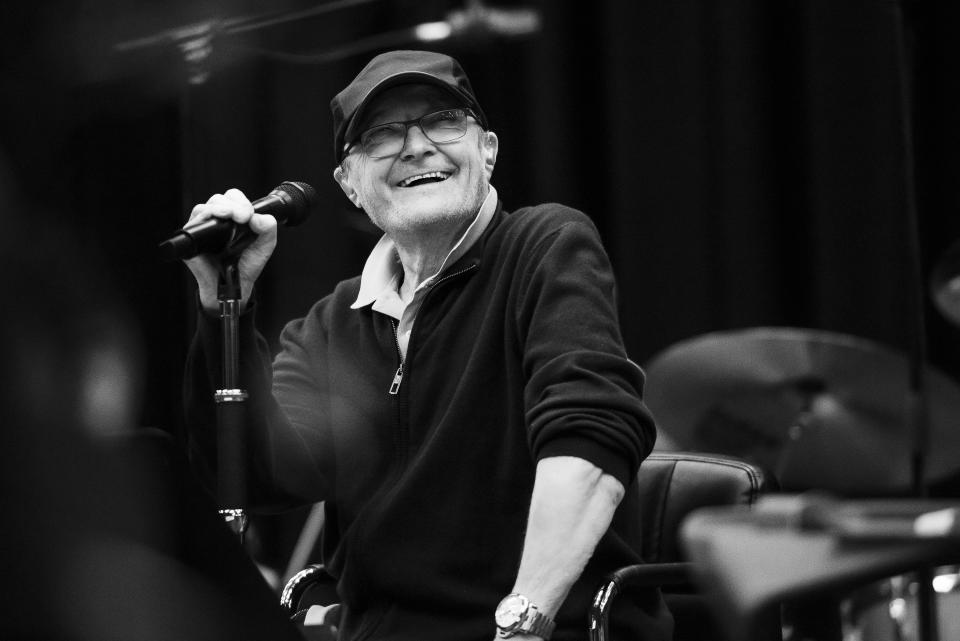 Phil Collins is all smiles during Genesis rehearsals (Genesis/PA)