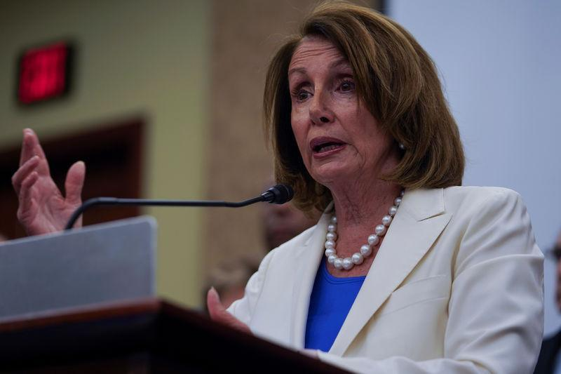 FILE PHOTO: House Minority Leader Nancy Pelosi (D-CA) speaks during a press conference on the Trump Administration's tax cuts at the U.S. Capitol Visitors Center in Washington, U.S., on June 22, 2018. REUTERS/Toya Sarno Jordan/File Photo
