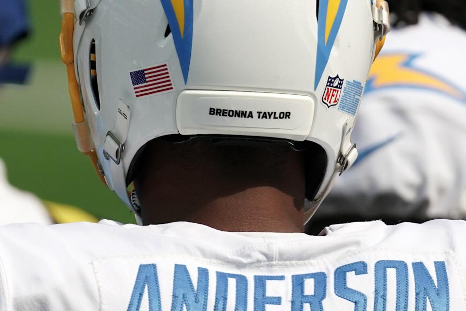 Sep 27, 2020; Inglewood, California, USA; Los Angeles Chargers tight end Stephen Anderson (82) wears the name Breonna Taylor on the back of his helmet against the Carolina Panthers at SoFi Stadium. The Panthers defeated the Chargers 21-16. Mandatory Credit: Kirby Lee-USA TODAY Sports