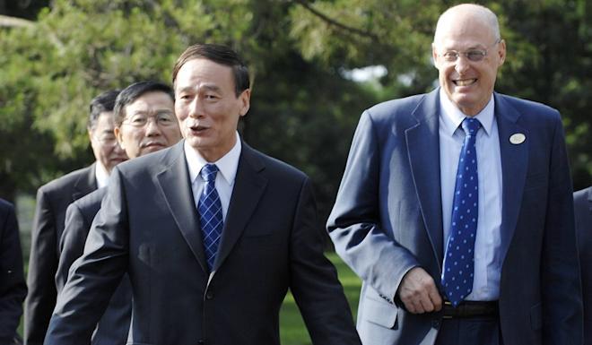 Wang Qishan with then-US Treasury Secretary Henry Paulson during economic talks in Annapolis, Maryland, in 2008. Photo: Reuters