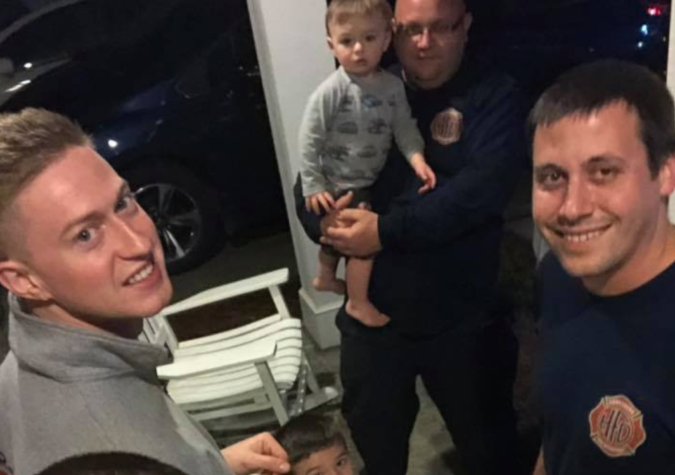 Firefighters in Harrisburg, N.C. babysat two children after their parents were transported for a medical emergency until their grandparents, who live 30 minutes away, were able to arrive. (Photo: Facebook)