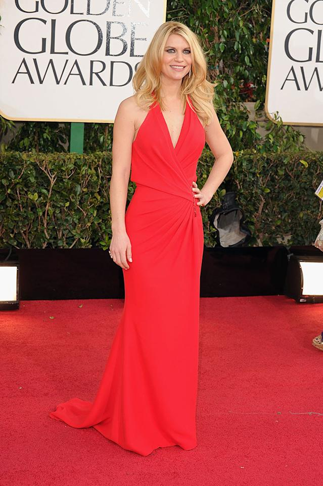 Claire Danes arrives at the 70th Annual Golden Globe Awards at the Beverly Hilton in Beverly Hills, CA on January 13, 2013.
