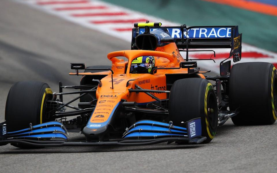 Lando Norris of Great Britain driving the (4) McLaren F1 Team MCL35M Mercedes during the F1 Grand Prix of Russia at Sochi Autodrom on September 26, 2021 in Sochi, Russia - Joe Portlock - Formula 1/Formula 1 via Getty Images