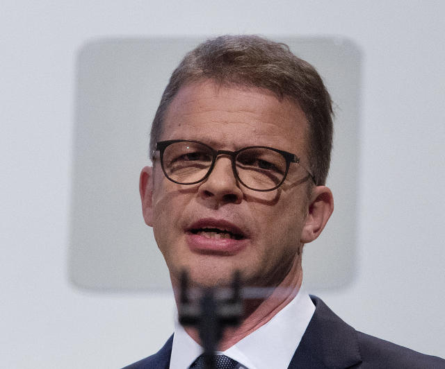 CEO of Deutsche Bank Christian Sewing speaks during the annual shareholders meeting in Frankfurt, Germany, Thursday, May 23, 2019. (AP Photo/Michael Probst)