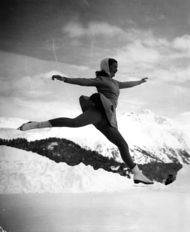 Barbara Ann Scott goes through a practice session in St. Moritz before the opening of the 1948 Olympic Winter Games.