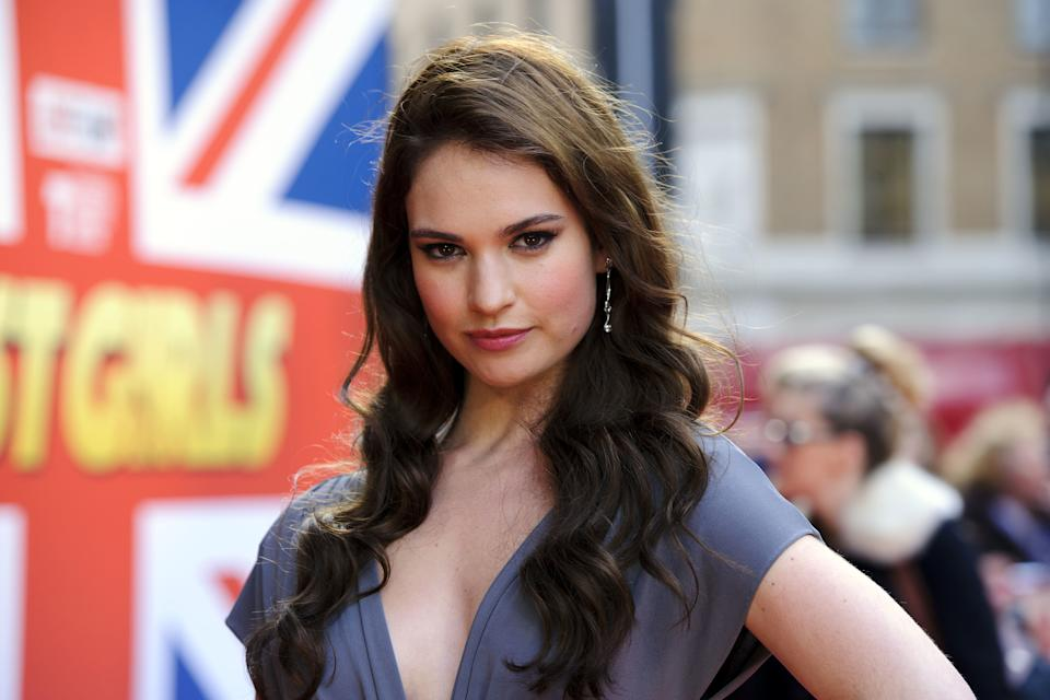 Lily James arriving at the world premiere of Fast Girls at the Odeon West End in Leicester Square, London.