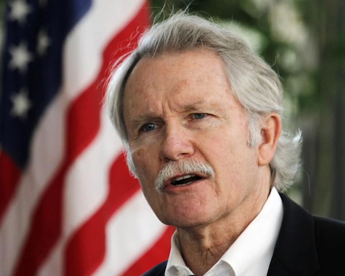 FILE - In this July 1, 2011, file photo, Oregon Gov. John Kitzhaber talks after signing two health care bills in Portland, Ore. The Obama administration is buying into Oregon's ambitious health care initiative, announcing Thursday that it's tentatively agreed to chip in $1.9 billion over five years to help get the program off the ground.The federal government could save $1.5 trillion over the next 10 years if all 50 states adopted Oregon's approach, the governor said. (AP Photo/Don Ryan, file)