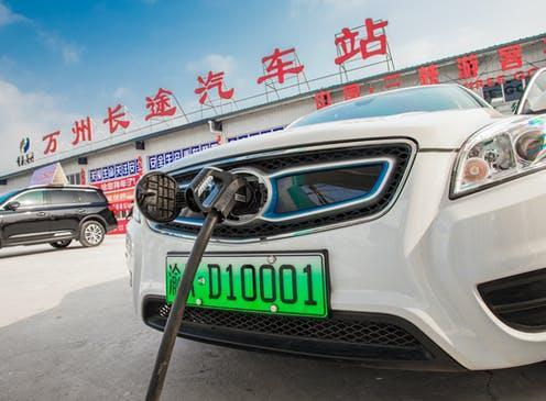 "<span class=""caption"">Could China become the world leader in electric vehicles?</span> <span class=""attribution""><a class=""link rapid-noclick-resp"" href=""https://www.shutterstock.com/image-photo/chongqing-china-july-14-2018-electric-1136793845"" rel=""nofollow noopener"" target=""_blank"" data-ylk=""slk:xujun/shutterstock"">xujun/shutterstock</a></span>"