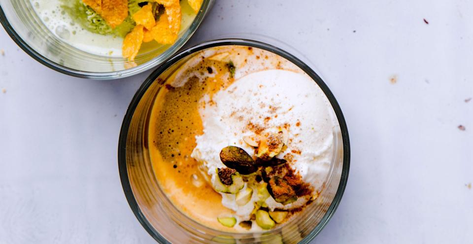 """This clever pour-over dessert proves that, yes, it will affogato. <a href=""""https://www.bonappetit.com/recipe/spiced-coffee-affogato-with-vanilla-ice-cream?mbid=synd_yahoo_rss"""" rel=""""nofollow noopener"""" target=""""_blank"""" data-ylk=""""slk:See recipe."""" class=""""link rapid-noclick-resp"""">See recipe.</a>"""