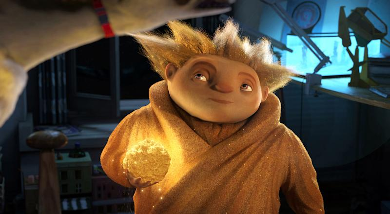 """In this undated publicity photo provided by Paramount Pictures, Sandman eyes his target in DreamWorks Animation's """"Rise of the Guardians."""" The film, releasing by Paramount Pictures, centers on a carefree Jack Frost (voiced by Chris Pine) joining an Avengers-style team of mythical figures who work together to protect the world's children with their assortment of powers and gadgets. (AP Photo/Paramount Pictures, Courtesy DreamWorks Animation)"""