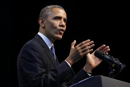 U.S. President Barack Obama speaks about the economy at an event hosted by the Center for American Progress in Washington
