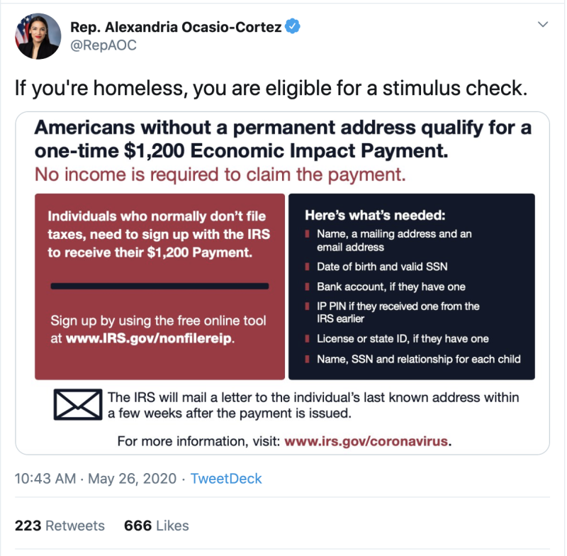 Rep. Alexandria Ocasio-Cortez tweeted that homeless Americans are also eligible to receive coronavirus stimulus payments.