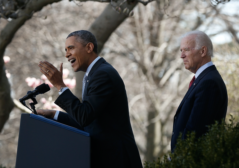 U.S. President Barack Obama speaks on the Affordable Care Act with Vice President Joe Biden in the Rose Garden of the White House April 1, 2014 in Washington, DC. (Photo by Win McNamee/Getty Images)