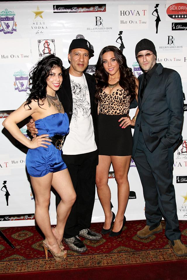 "Jenny Regali, Armando, Jenna Russo and Jae Benjamin attend the ""<a target=""_blank"" href=""http://tv.yahoo.com/bad-girls-club/show/40081"">Bad Girls Club</a>"" official reunion party at Kamasutra Lounge on April 27, 2012 in New York City."