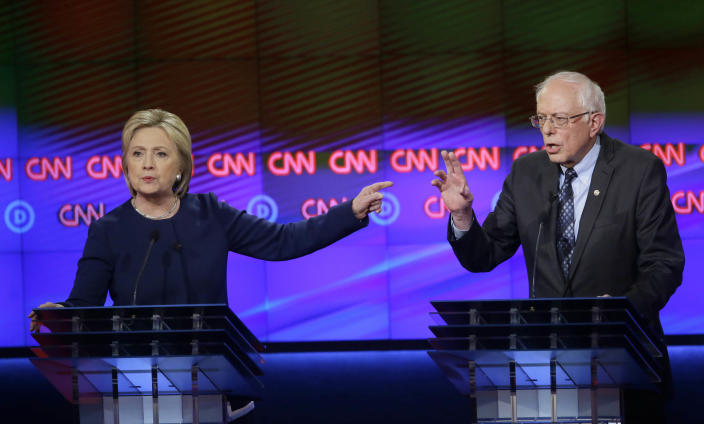 Democratic presidential candidates Hillary Clinton and Bernie Sanders. (Photo: Carlos Osorio/AP)