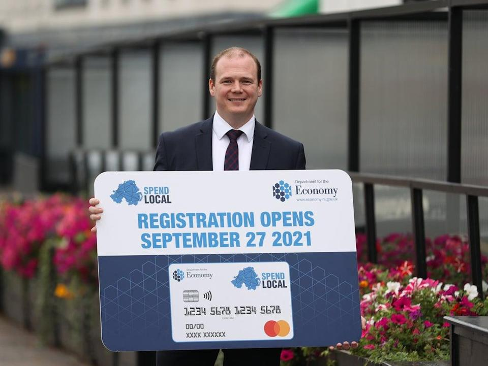 Economy Minister Gordon Lyons said a high street voucher scheme, which will offer pre-paid cards worth £100 to every adult in Northern Ireland, will open for applications on September 27 (Liam McBurney/PA) (PA Wire)