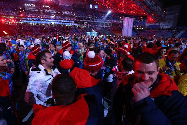 SOCHI, RUSSIA - FEBRUARY 23: Athletes from Great Britain enjoy the closing party during the 2014 Sochi Winter Olympics Closing Ceremony at Fisht Olympic Stadium on February 23, 2014 in Sochi, Russia. (Photo by Ryan Pierse/Getty Images)