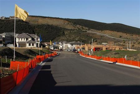 New single-family home construction is shown underway as a subdivision is built in San Marcos, California