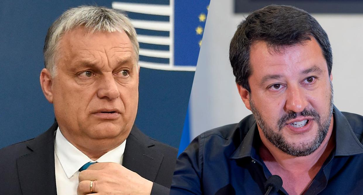 Hungary's Prime Minister Viktor Orbán and Italian Deputy Premier and Interior Minister Matteo Salvini. (Photos: John Thys/AFP/Getty Images; Stefano Montesi/Corbis/Getty Images)