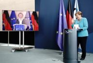 German Chancellor Merkel and head of the European Commission von der Leyen hold joint news conference
