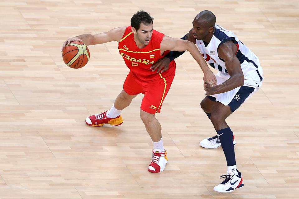 LONDON, ENGLAND - AUGUST 12: Kobe Bryant #10 of the United States defends against Jose Calderon #8 of Spain during the Men's Basketball gold medal game between the United States and Spain on Day 16 of the London 2012 Olympics Games at North Greenwich Arena on August 12, 2012 in London, England. (Photo by Streeter Lecka/Getty Images)