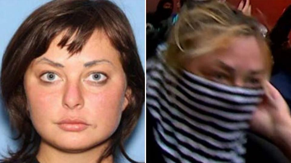 A mug shot of Margaret Aislinn Channon (Left) and an image of her allegedly lighting police cars on fire (Right)