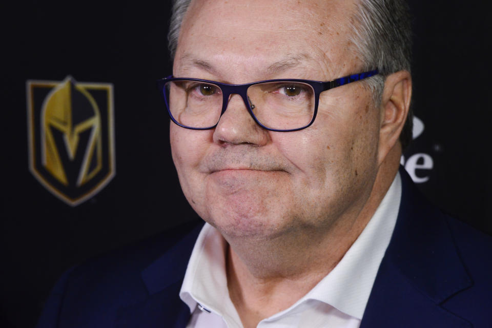 Vegas Golden Knights NHL hockey team general manager Kelly McCrimmon holds a news conference in Ottawa, Wednesday, Jan 15, 2020. Head coach Gerard Gallant was fired less than two years after leading the Golden Knights to the Stanley Cup Final. Peter DeBoer will be the coach for the rest of the season. (Sean Kilpatrick/The Canadian Press via AP)