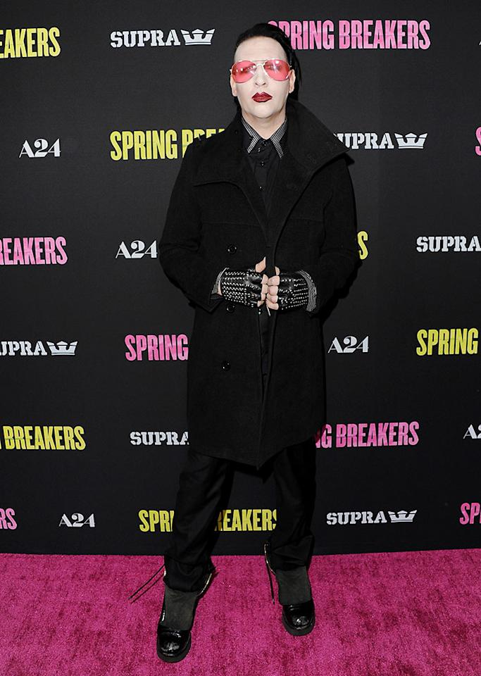 "Marilyn Manson arrives at the Los Angeles Premiere ""Spring Breakers"" at ArcLight Hollywood on March 14, 2013 in Hollywood, California."