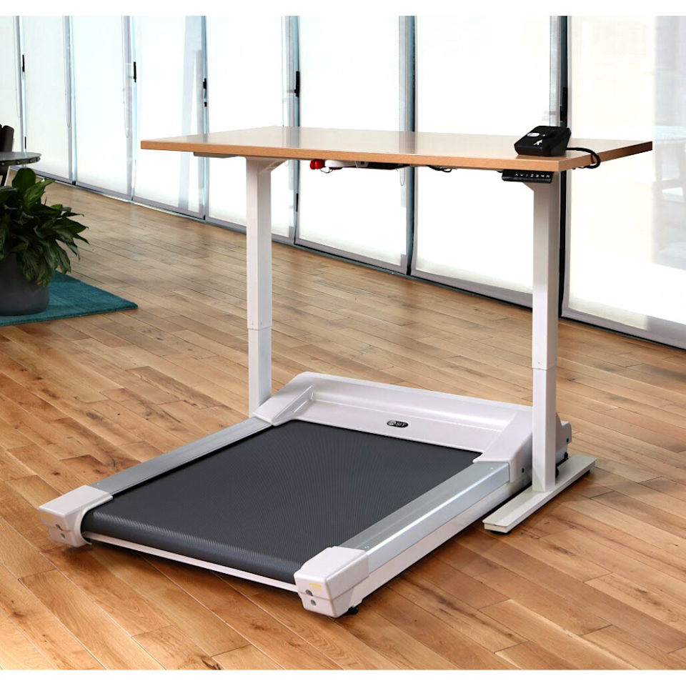 """<p><strong>InMovement</strong></p><p>inmovement.com</p><p><strong>$2790.00</strong></p><p><a href=""""https://www.inmovement.com/products/unsit-treadmill-desk-bundle"""" target=""""_blank"""">Shop Now</a></p><p>Whether you're in search of a treadmill desk for employees to share at the office, or you just need something for the house that you can trust, the new InMovement Unsit will do the job. Sure, it's pricey, but it's an incredibly sturdy combo that will last for years.</p><p>The commercial-grade treadmill has a silent motor that won't drown out your meeting, and it flaunts a unique design unlike any other treadmill desk we've seen. Rather than being long and rectangular, it has a squarish design. Longer treadmills can be potential trip hazards since they stick out of busy walkways.</p><p>The Unsit features a Bluetooth app that tracks your steps, distance, and calories. We appreciate that some of its parts are backed by a lifetime warranty and that it supports up to 400 pounds. Our only complaint is that we wish it were a little faster, since this one tops out at just 2 miles per hour.</p><p><strong>More:</strong> <a href=""""https://www.bestproducts.com/tech/gadgets/g32433162/headphones-earbuds-for-work/"""" target=""""_blank"""">The Best Headphones Made With All-Day Working in Mind</a></p>"""
